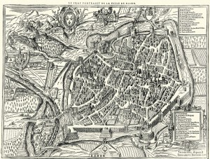Figure 1: Map of Dijon 1574. Edouard Bredin. Archives municipales de Dijon, cote 4, Fi 956.