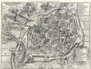 Figure 1: Map of Dijon 1574. Edouard Bredin. Archives municipales de Dijon, cote 4, Fi 956.