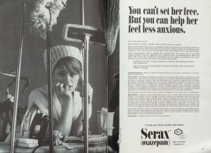 An advertisement for Serax – a pill for the housewife trapped in a prison of anxiety