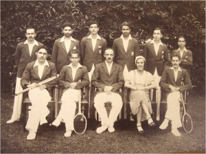 Imperial Forest College Tennis Club (1933) Photograph by Bhagat Singh & Sons, Dehra Dun Private Collection of the author. [Brindhavan Bihari Chaturvedi, seated, far right]