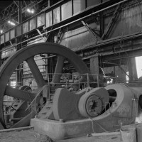 INTERIOR OF ENGINE ROOM, BLOOMING MILL. CRANK AND DIAMETER FLYWHEEL.  Republic Iron & Steel Company, Youngstown Works, Blooming Mill & Blooming Mill Engines. (1988) Courtesy of Library of Congress Prints and Photographs Division Washington, D.C.