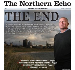 Front Page, Northern Echo, 13th October 2015.