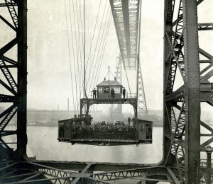 Tees Transporter Bridge - an early-twentieth-century view of a packed gondola, courtesy of Teeside Archives.