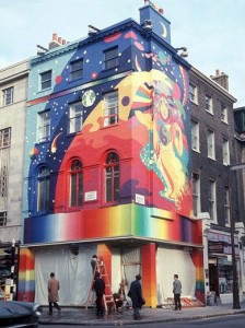 The Fool Collective Mural outside Apple Boutique, one of the Beatles' fledgling Apple Corps enterprises.
