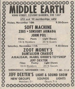 Middle Earth - Line Up Poster 1967