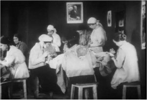 A depiction of the labour dispensary from the 1926 film 'A Prostitute, Killed by Life' (Prostitutka, Ubitaia Zhizn'iu) directed by Oleg Frelikh. The protagonist, Liuba, is seduced into prostitution, exploited, and then admitted to the labour dispensary where she becomes a vocal advocate for the institution.